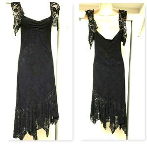 J. RIBKOFF COUTURE Deep Plunge Black Lace Dress